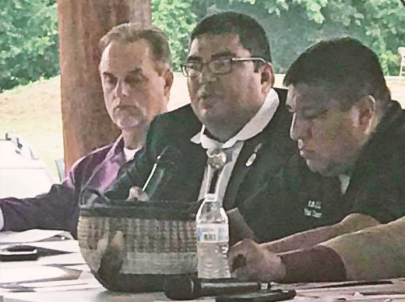 Eastern Band of Cherokee Indians Tribal Council Chairman Adam Wachacha speaks to the Cherokee Tri-Council in Tahlequah, Oklahomaon a resolution denouncing family separations. Donated photo