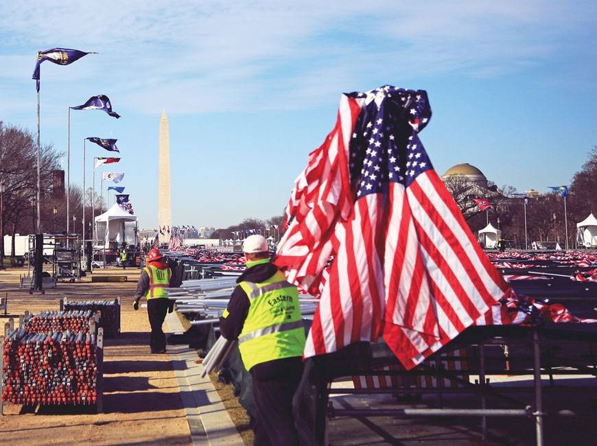 On Jan. 21, workers begin to remove displays and equipment used on an Inauguration Day that was heavily influenced by the events of Jan. 6. Jeffery Delannoy photo