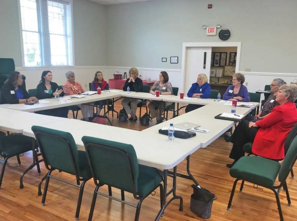 Women in municipal government meet to discuss current issues at Maggie Valley Town Hall last Saturday. Jessi Stone photo