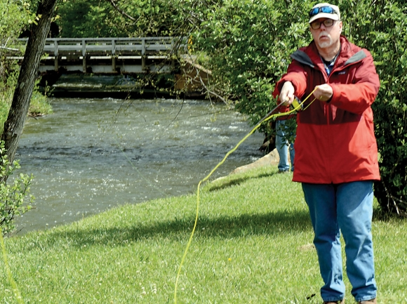 A participant in the four-part fly fishing series practices his cast. Holly Kays photo