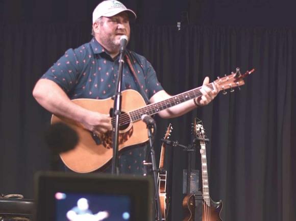 Darren Nicholson during his recent Facebook live stream at The Strand at 38 Main in Waynesville. (photo: Garret K. Woodward)