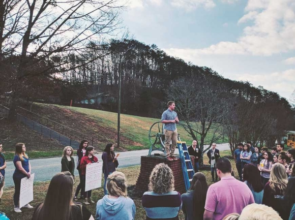 Swain County High School students participate in a walkout to show solidarity with the survivors of the mass school shooting in Florida and call on leaders to take action. Donated photo