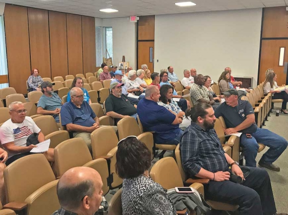 Nearly 40 people turned up to Canton's Town Board meeting June 28, many of whom were opposed to a proposed vehicle tax. Cory Vaillancourt photo