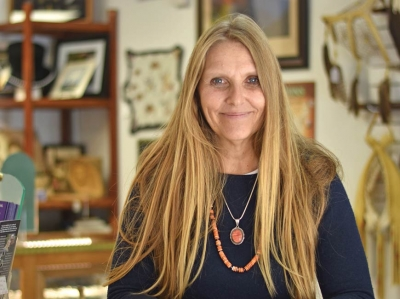 Ute Grant, originally from Germany, runs a store in downtown Cherokee that sells Native American craftsmanship made by her husband General Grant. Holly Kays photo