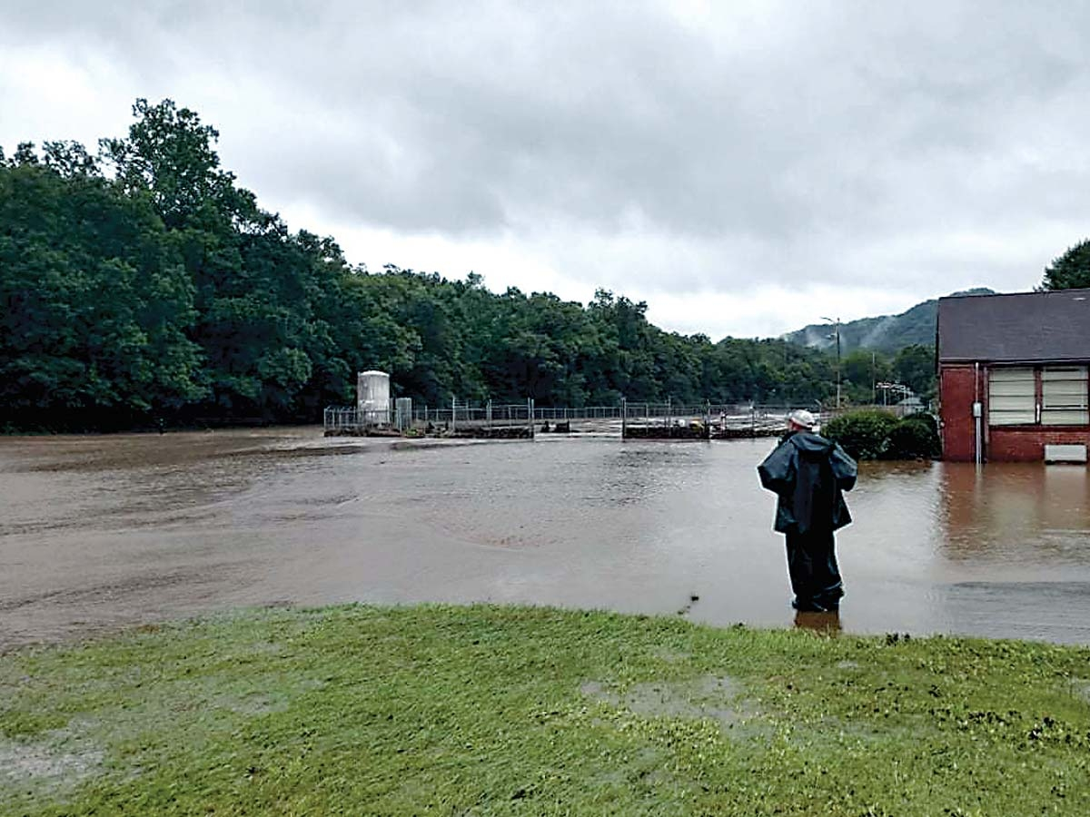 Floodwaters cover the N.C. Wildlife Commission campus near Brevard Aug. 17. Donated photo