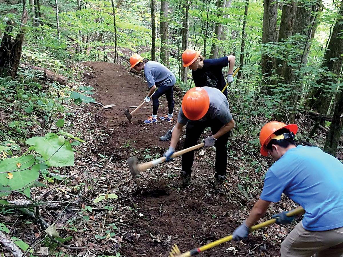 Volunteers work to improve trail tread in the Great Smoky Mountains National Park. NPS photo