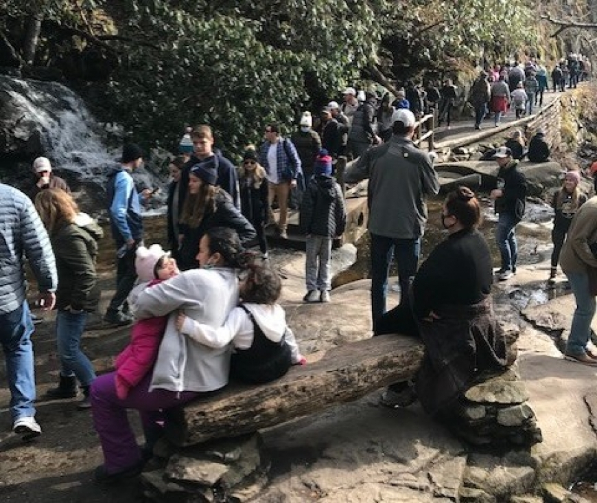 Even during January this year, visitors crowd the space at Laurel Falls. NPS photo