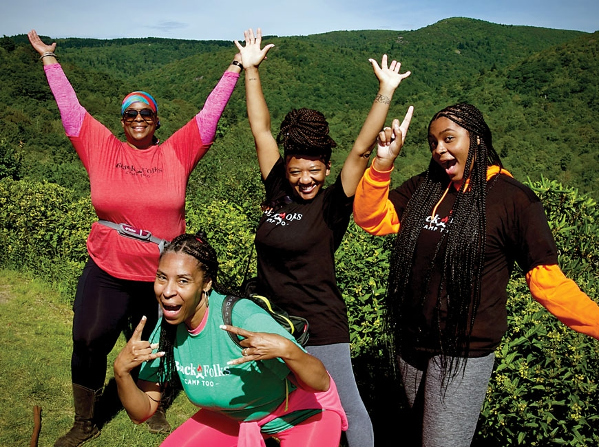 An excited group poses during one of Black Folks Camp Too's very first backpacking trips on the Mountains-to-Sea Trail.