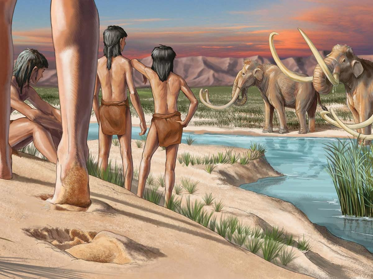 Long before the sand dunes formed at White Sands National Park, ice age teenagers left their footprints in the mud, only to be discovered thousands of years later. Karen Carr illustration