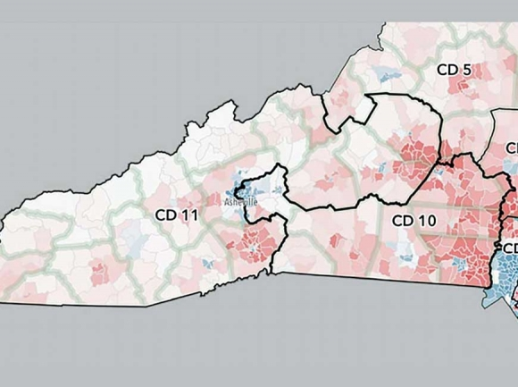 All 13 N.C. congressional districts, including the two westernomst, are the subject of a gerrymandering suit. Donated photo
