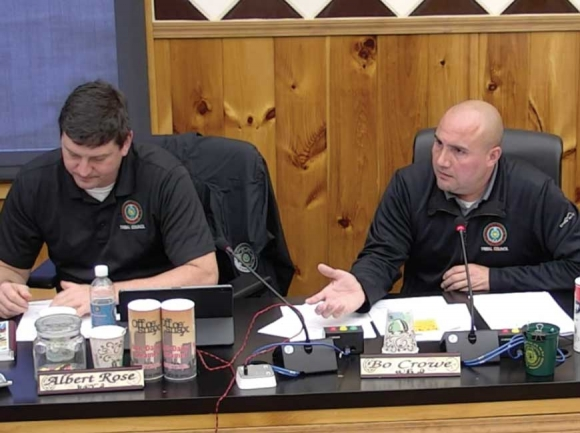 Wolfetown Representative Bo Crowe discusses his ordinance during a work session Feb. 24. EBCI image