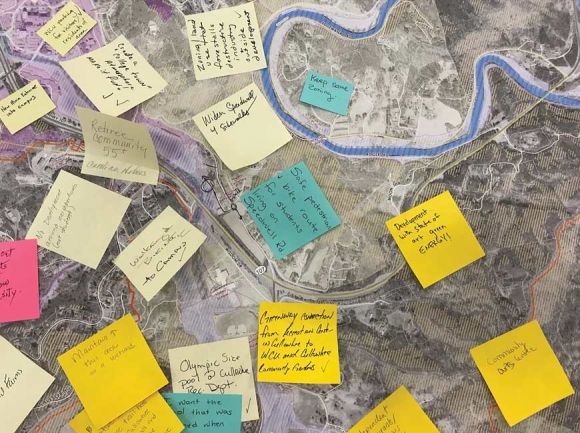 Sticky notes cover Cullowhee with suggestions from community members. Holly Kays photo