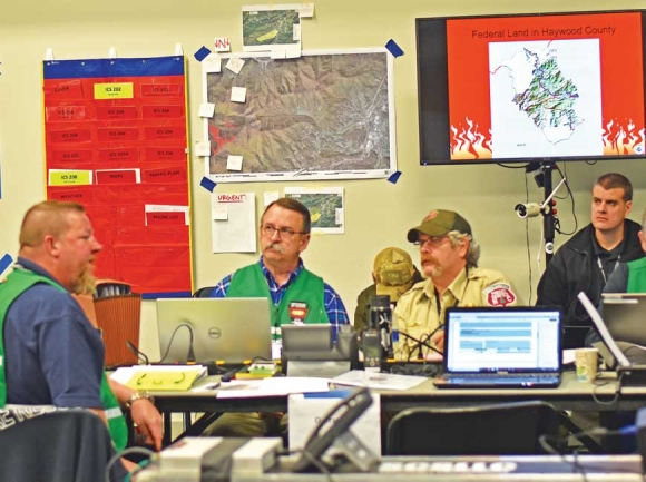 The green team strategizes in the command room. Holly Kays photo