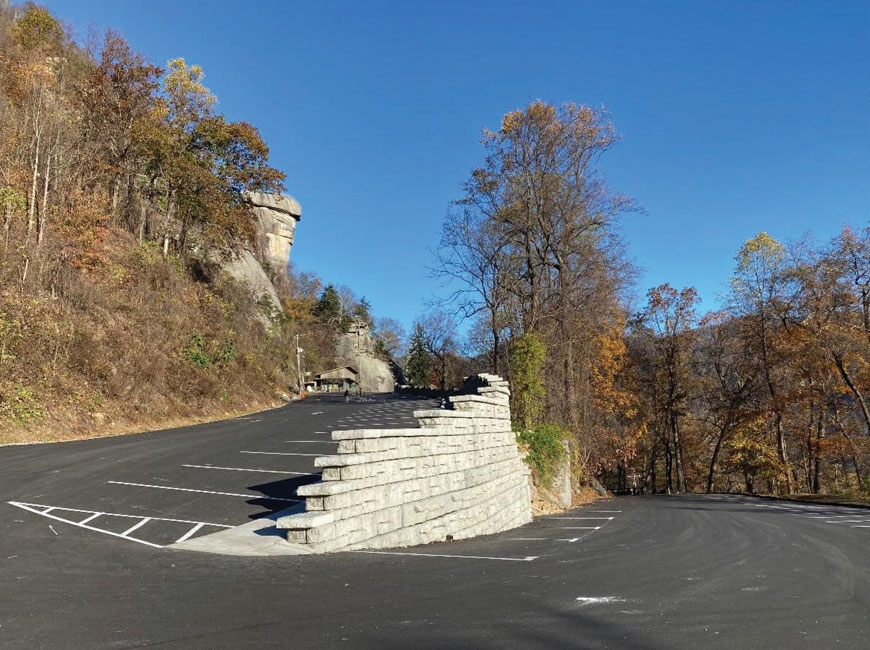 After 10 months of construction and nearly $3 million, a new parking lot and retaining wall is complete at Chimney Rock. Donated photo