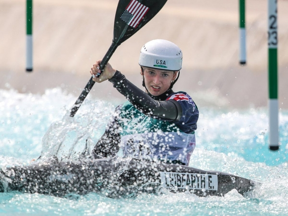 Leibfarth navigates the slalom course during an Olympic heat run. ICF Photography photo