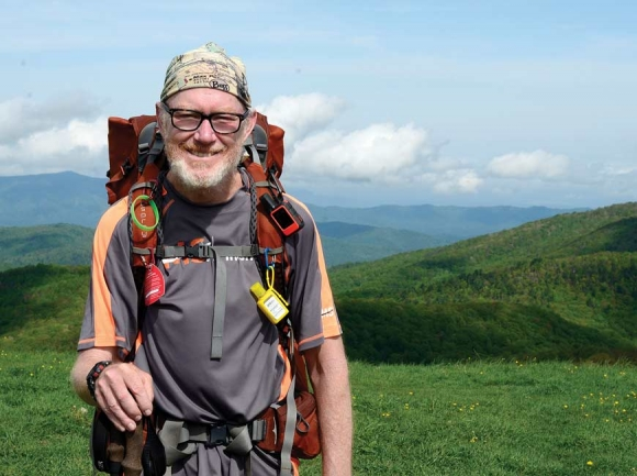 """John """"Trigger"""" Dupras takes in the view from Max Patch. Holly Kays photo"""