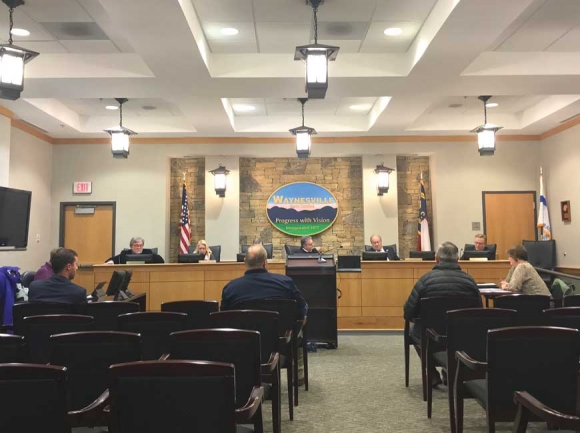 Waynesville aldermen addressed a mostly-empty room on March 24. Cory Vaillancourt photo