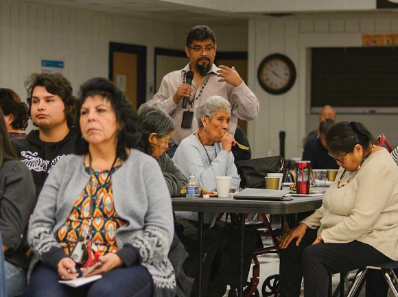 Bo Lossiah voices his thoughts on language preservation at the EBCI Language Symposium Jan. 31. Holly Kays photo