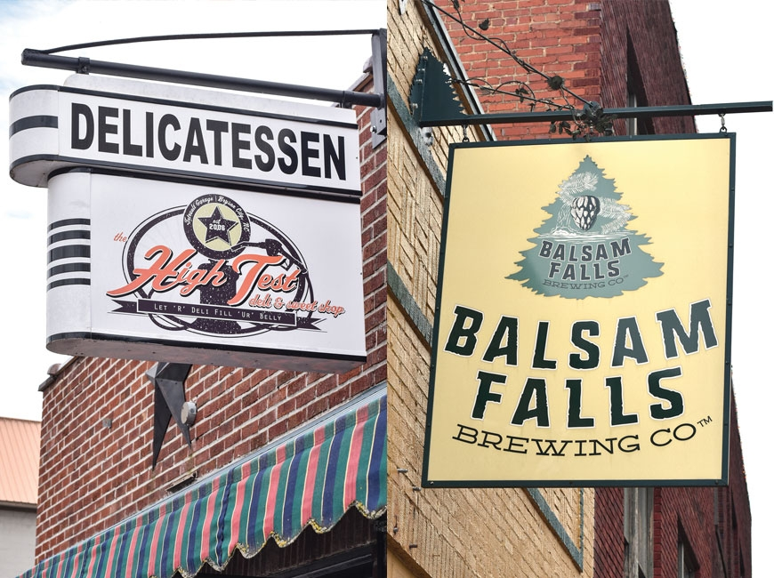 Left: The High Test Deli & Sweet Shop in Bryson City. Right: Balsam Falls Brewing Company in Sylva.