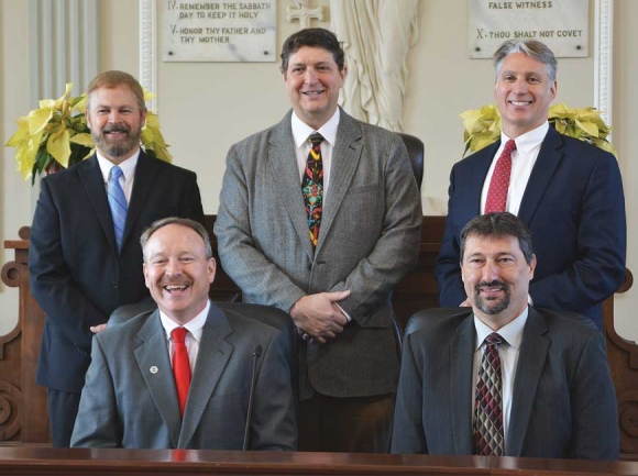 Haywood's two new commissioners (front, left to right) Tommy Long and Mark Pless are joined by incumbents (rear, left to right) Brandon Rogers, Chairman Kevin Ensley and Kirk Kirkpatrick. Cory Vaillancourt photo
