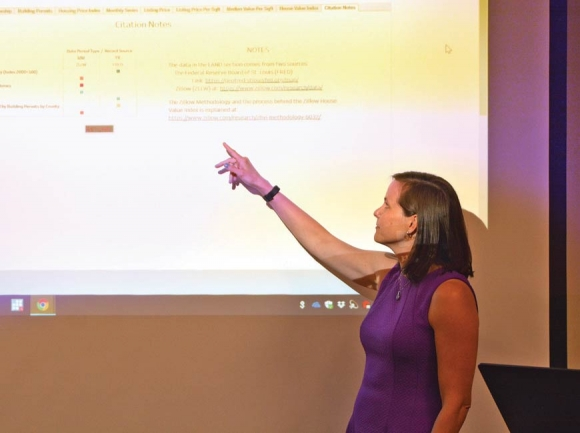WCU's Dr. Angela Dills unveils the N.C. Data Dashboard at a meeting of the Mountain West Partnership June 6. Cory Vaillancourt photo