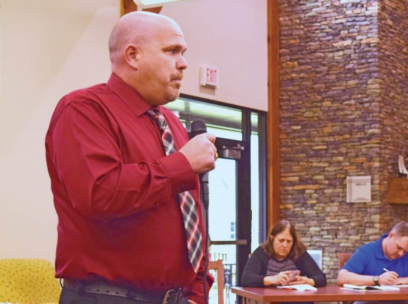 Eric Giles, a candidate for Macon County sheriff and a deputy for Cherokee County Sheriff's Office, speaks at a candidate forum held in April. File photo