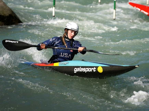 Evy Leibfarth trains on the water in Tacen, Slovenia, where she competed in the ICF World Cup No. 3 last month.