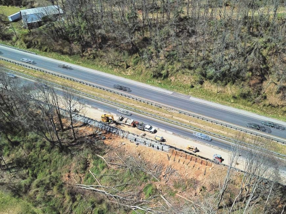 An aerial photo shows a landslide in Waynesville just off U.S. 74. A Shot Above WNC photo
