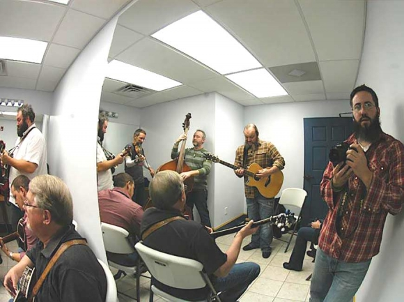 Backstage in Canton with Balsam Range, January 2013. (photo: Garret K. Woodward)