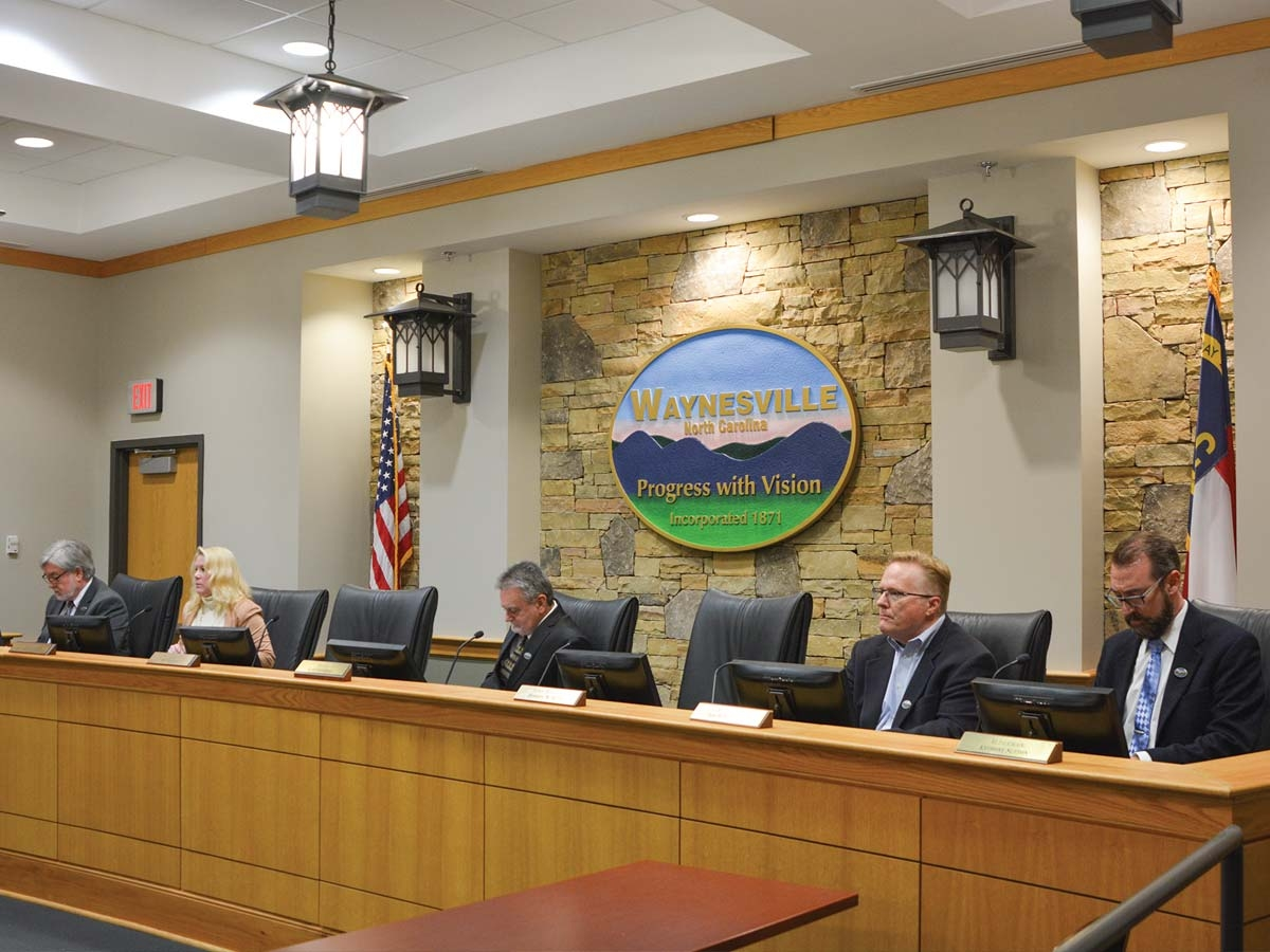 Waynesville's Board of Aldermen considers the formation of the homeless task force in December, 2019. Cory Vaillancourt photo